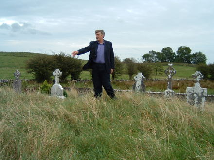 John Mc Dermott of Polredmond showing the famine graves and the site of the old church