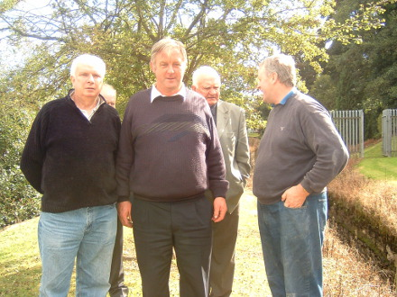 At Martry Mill, the late Tom Murray, Knockanara, partly hidden is Sean Mulryan Williamstown, Noel Tarmey, Williamstown, Vinny Mc Namara, Bookla and James Tallon the owner of Martry Mill