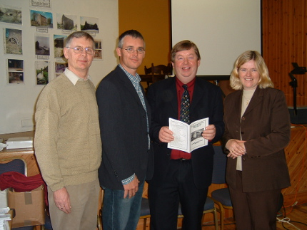 Launching the booklet containing the names of all the people who contributed so generously to the appeal of the Heritage Society for donations to enable them to purchase Templetogher Mill for the community. From left