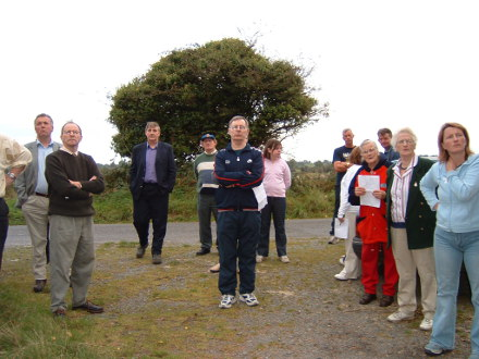 On the same day as the photograph above people listen intently to Heritage Society member Gerard Keane